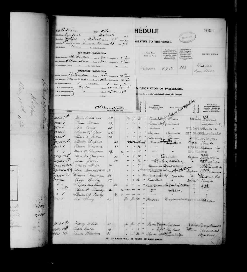Digitized page of Passenger Lists for Image No.: e003682209