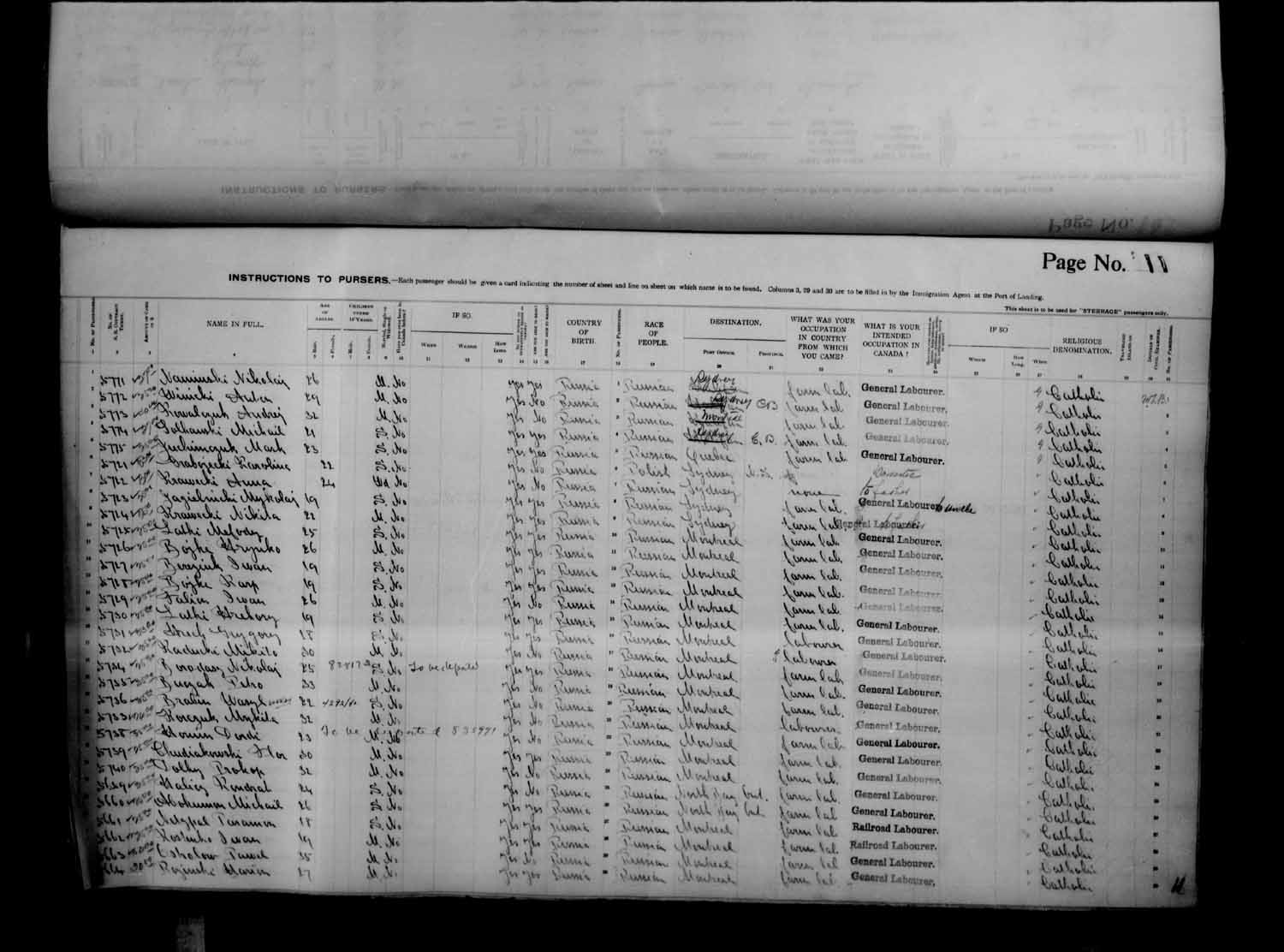 Digitized page of Passenger Lists for Image No.: e003686919