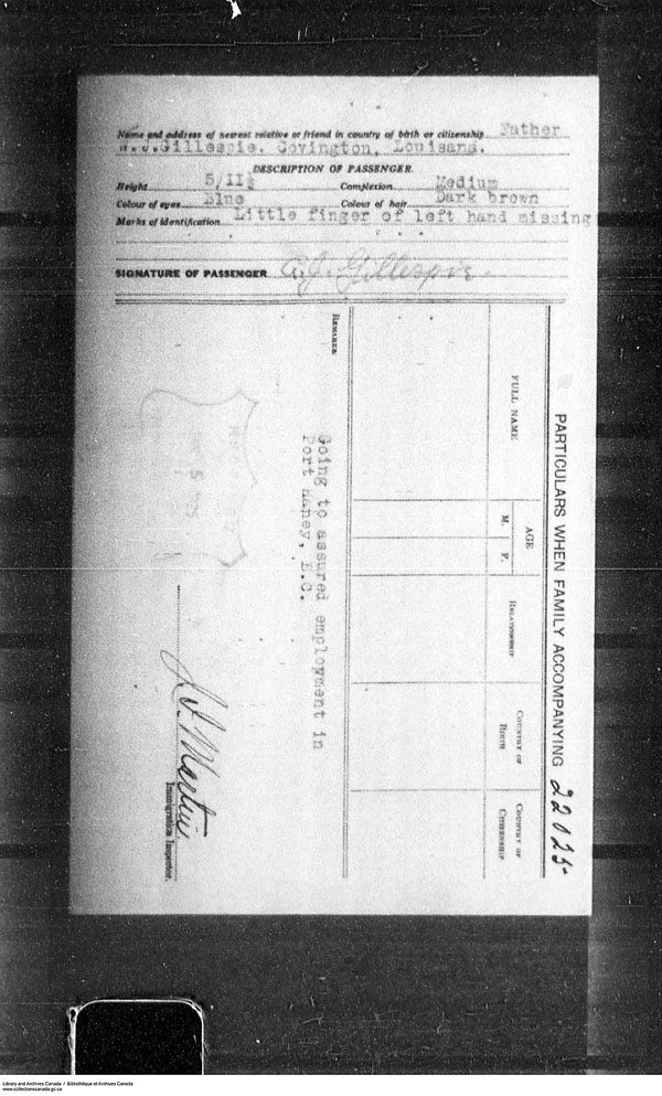 Border Entry, Form 30, 1919-1924 - Image 4637298