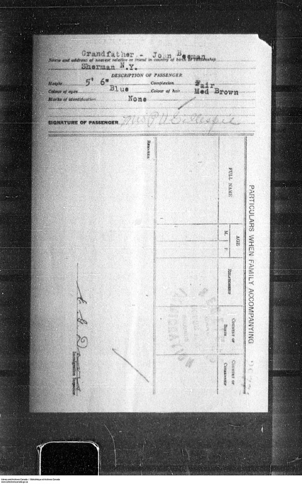 Border Entry, Form 30, 1919-1924 - Image 4637310