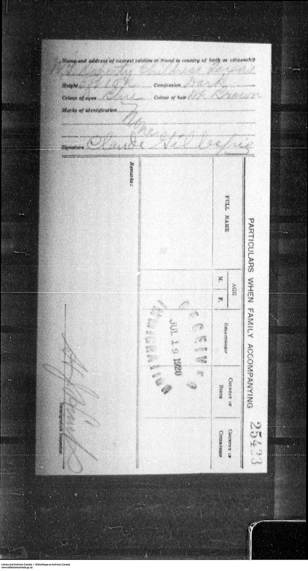 Border Entry, Form 30, 1919-1924 - Image 4637316