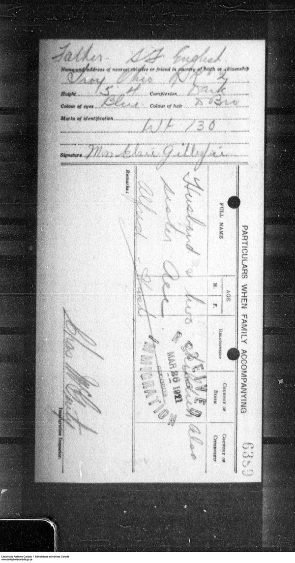 Border Entry, Form 30, 1919-1924 - Image 4637322