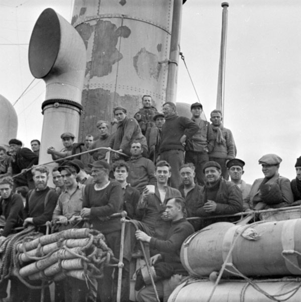 Survivors of a torpedoed merchant ship, St. John's, Newfoundland, 15 September 1942.