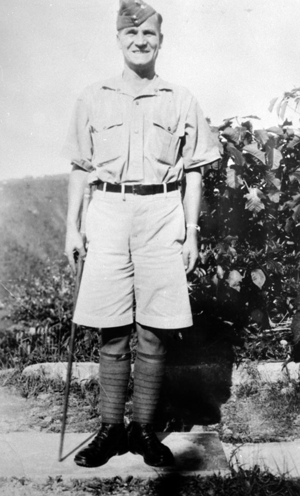 """Company Sergeant-Major J.R. Osborn of """"A"""" Company, The Winnipeg Grenadiers, Jamaica, ca. 1940-1941. Killed in action at Hong Kong on 19 December 1941, CSM Osborn was posthumously awarded the Victoria Cross."""