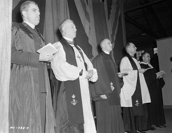 Unidentified military chaplains at a church parade, Lansdowne Park, Ottawa, Ontario, Canada, 30 April 1944.
