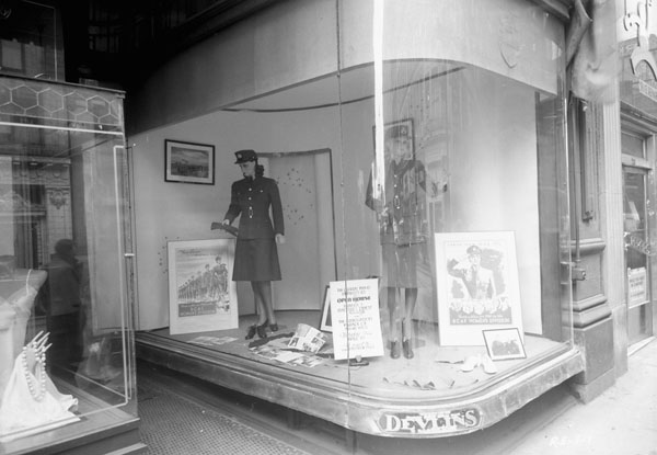 Devlin's window display of uniforms of the R.C.A.F. Women's Division, Sparks Street, Ottawa, Ontario, Canada, 8 April 1943.