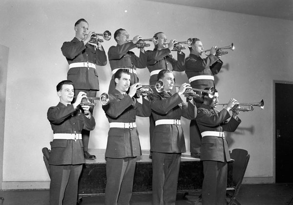 Trumpet section of the Royal Canadian Air Force (R.C.A.F.) Central Band, R.C.A.F. Station Rockcliffe, Ontario, Canada, 21 December 1944.