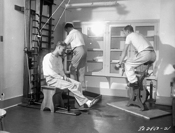 Physical therapy exercises, No.5 Convalescent Hospital, R.C.A.F., Vancouver, British Columbia, Canada, August 1945.