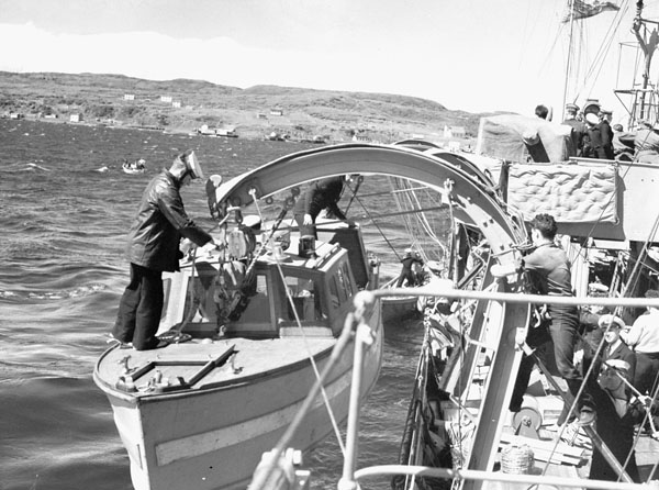 Infantrymen of the 1st Battalion, The Black Watch (Royal Highland Regiment) of Canada, disembarking from H.M.C.S. OTTAWA, Botwood, Newfoundland, 22 June 1940.