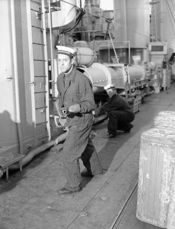 Leading Stoker Henri LeClair, H.M.C.S. ASSINIBOINE, Halifax, Nova Scotia, Canada, November 1940.