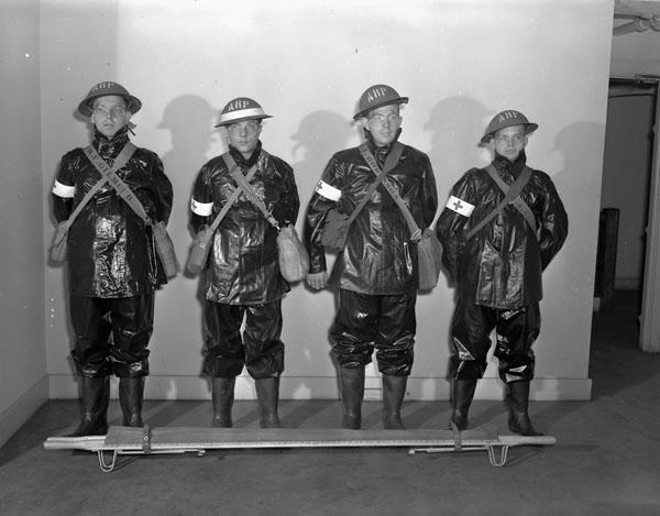 Royal Canadian Navy Air Raid Precaution (ARP) squad, Halifax, Nova Scotia, Canada, 4 November 1942.