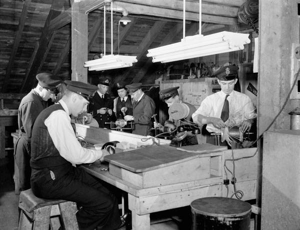 Winding Section of the Electrical Artificers' Workshop, H.M.C. Dockyard, Halifax, Nova Scotia, Canada, 13 November 1942.