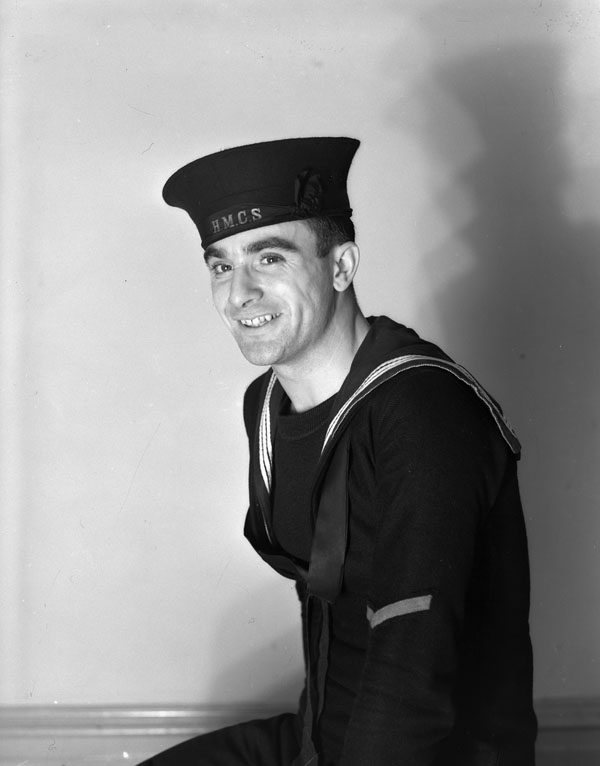 Able Seaman Stanley Thibodeau, an Anti-Aircraft Rating Third Class, Royal Canadian Navy Gunnery School, H.M.C.S. CORNWALLIS, Halifax, Nova Scotia, Canada, 15 January 1943.