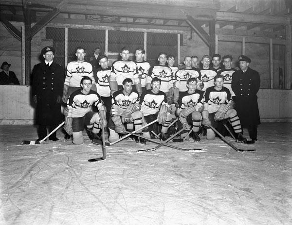 Royal Canadian Navy Hockey Team, Halifax, Nova Scotia, Canada, 23 January 1943.