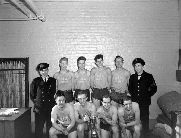 New Entries' Basketball Team, H.M.C.S. CORNWALLIS, Halifax, Nova Scotia, Canada, 17 February 1943.