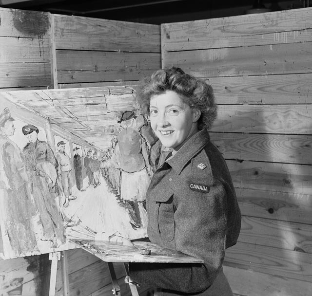 Second Lieutenant Molly Lamb of the Canadian Women's Army Corps (C.W.A.C.), a war artist, London, England, 12 July 1945.
