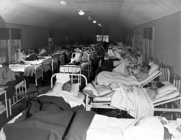 Hospitalized victims of the Knights of Columbus Hostel fire, St. John's, Newfoundland, 13 December 1942.