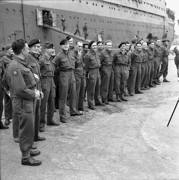 Personnel of Headquarters Company, No.2 Canadian Base Reinforcement Depot (Canadian Army Miscellaneous Units), who survived the sinking of S.S. SANTA ELENA landing at Naples, Italy, 8 November 1943.