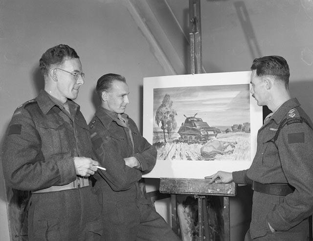 Canadian war artists at war art exhibition, Horsham, England, 23 August 1945.