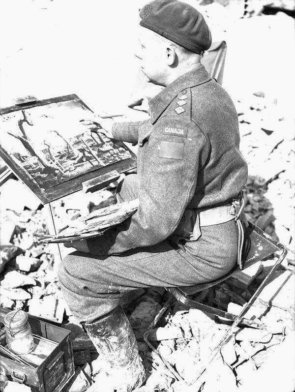 War artist Captain Charles F. Comfort, Ortona, Italy, 11 March 1944.