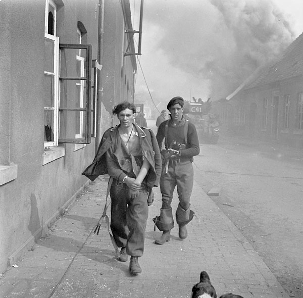 A German soldier taken prisoner during a German counterattack on the 4th Canadian Armoured Division, Sogel, Germany, 10 April 1945.