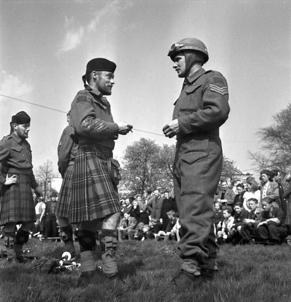 Pipe Major R. Stoker and Sgt. T. Allen, Essex Scottish Regiment, Groningen, Netherlands, 17 April 1945.
