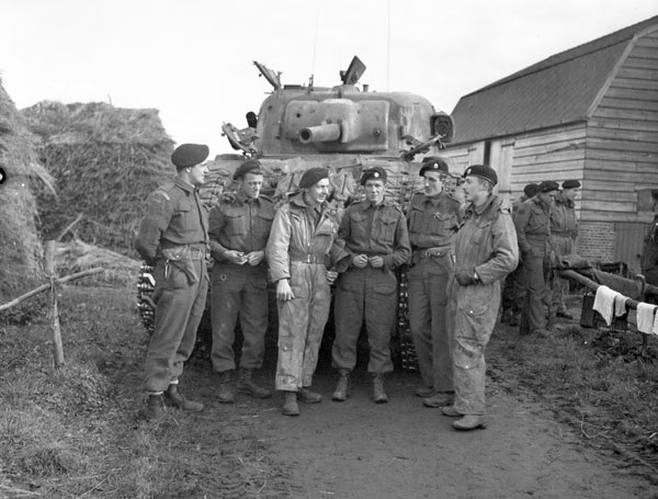 Personnel with a Sherman tank of No.1 Squadron, The Governor General's Foot Guards, Bergen op Zoom, Netherlands, 6 November 1944.