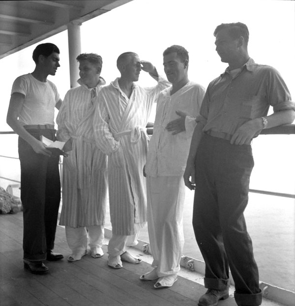 Liberated Canadian prisoners-of-war aboard the hospital ship S.S. BENEVOLENCE, Yokohama, Japan, 3 September 1945.
