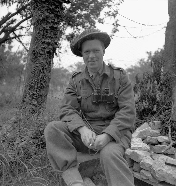 Captain Fred A. Tilston of The Essex Scottish Regiment near Caen, France, 5 August 1944.
