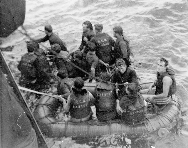 Survivors of the minesweeper HMCS Clayoquot, which was torpedoed by the German submarine U-806, being rescued by the corvette HMCS Fennel off Halifax.