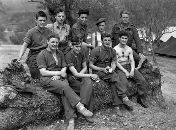 Members of The Cape Breton Highlanders baseball team at the Snow Haven rest camp, Fornelli, Italy, 2 May 1944.