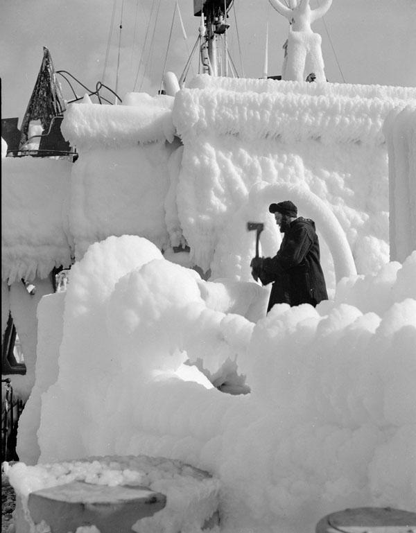 The corvette H.M.C.S. BRANTFORD covered with ice, St. John's, Newfoundland, 2 February 1944.