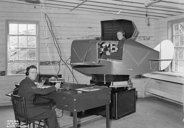 Link Trainer, Royal Canadian Air Force Station (R.C.A.F.) Alliford Bay, British Columbia, Canada, 10 April 1942.