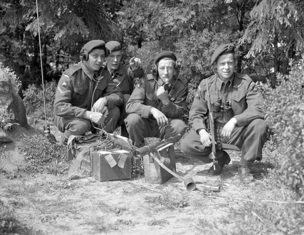 A Forward Observation Group of the Royal Canadian Artillery (R.C.A.) attached to the 6th Airborne Division, Wismar, Germany, 20 May 1945.