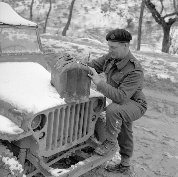 "Lieutenant R.B. MacNeill, a Staff Learner ""A""  with the 11th Canadian Infantry Brigade, prepares to leave for staff college studies in Canada. Castel Frentano, Italy, 8 February 1944."