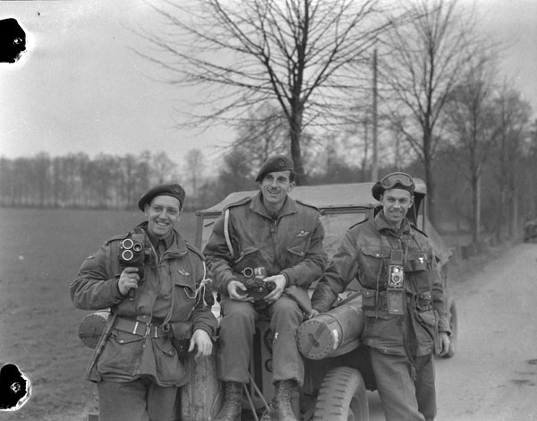 Photographers of the Canadian Army Film and Photo Unit attached to the 1st Canadian Parachute Battalion.