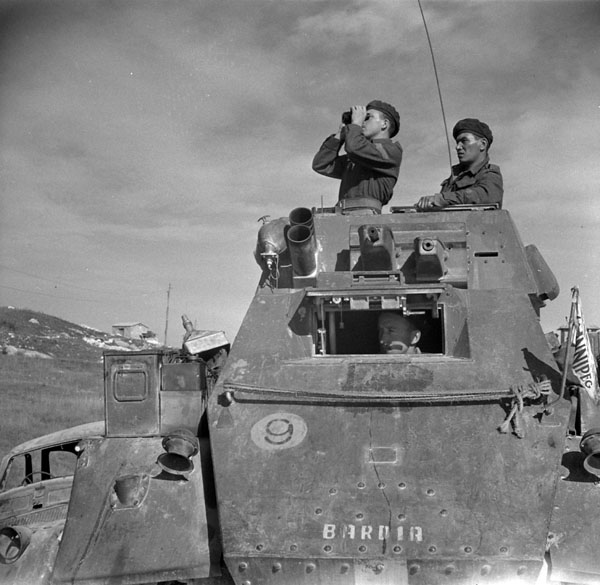 Troopers of the 4th Princess Louise Dragoon Guards in a Humber IV armoured car, Matrice, Italy, 27 October 1943.