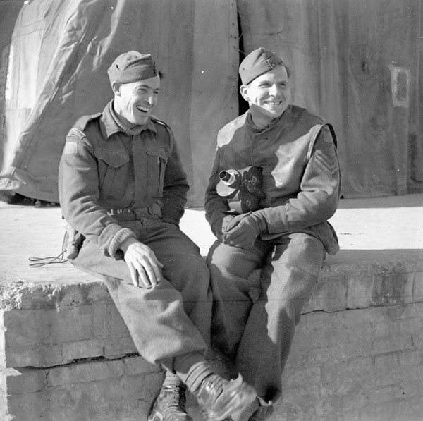 Private Kenneth E. White and Sergeant Norman C. Quick of the Canadian Army Film and Photo Unit, Ortona, Italy, 6 February 1944.