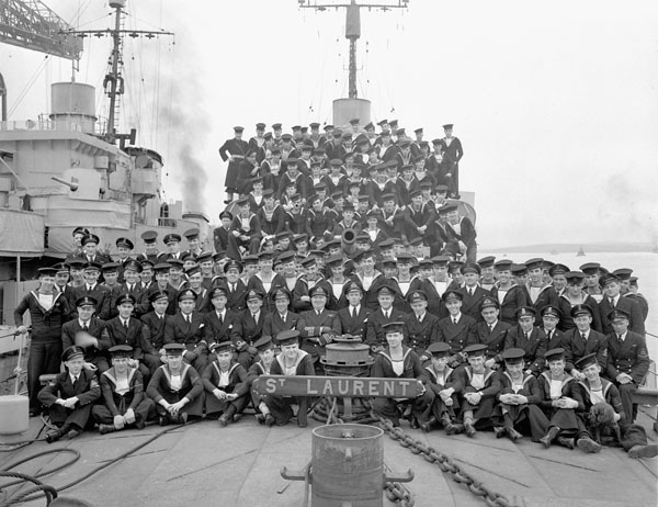 Ship's Company of the destroyer H.M.C.S. St. LAURENT, Halifax, Nova Scotia, Canada, 29 May 1945.