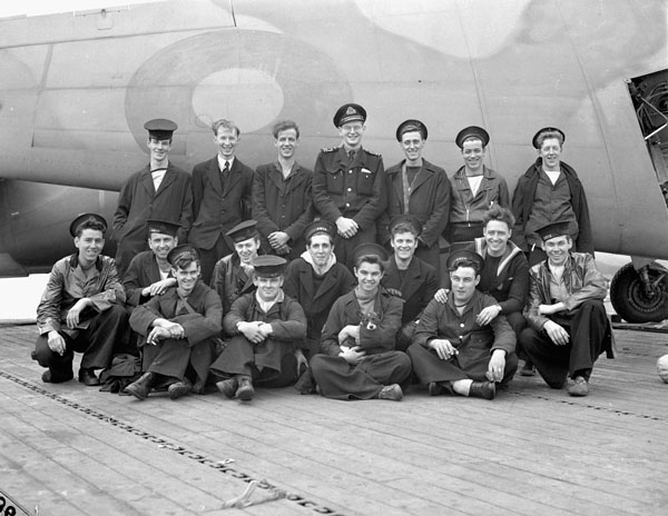 The Electrical and Radar Branch of the aircraft carrier H.M.S. NABOB, Rosyth, Scotland, 21 September 1944.