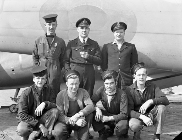 Personnel of the Diesel Department, H.M.S. NABOB, Rosyth, Scotland, 21 September 1944.