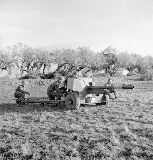 2nd anti-tank regiment, RCA, practicing with six pounder gun during a training exercise, Bognor, England, 14 December 1942.