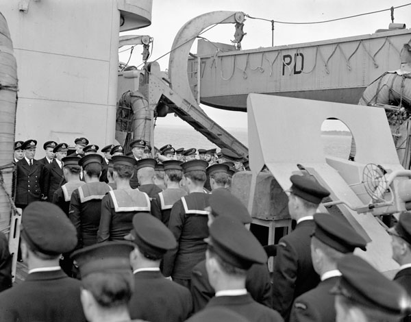 Sunday Divisions on the quarterdeck of H.M.C.S. PRINCE DAVID just before D-Day, June 1944.