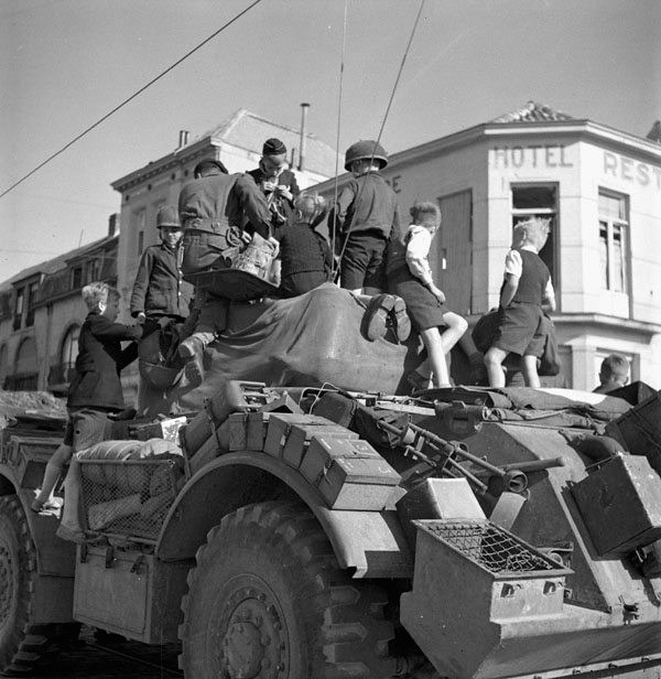 General Motors Staghound T-17E1 armoured car of the 12th Manitoba Dragoons, Blankenberghe, Belgium, 11 September 1944.