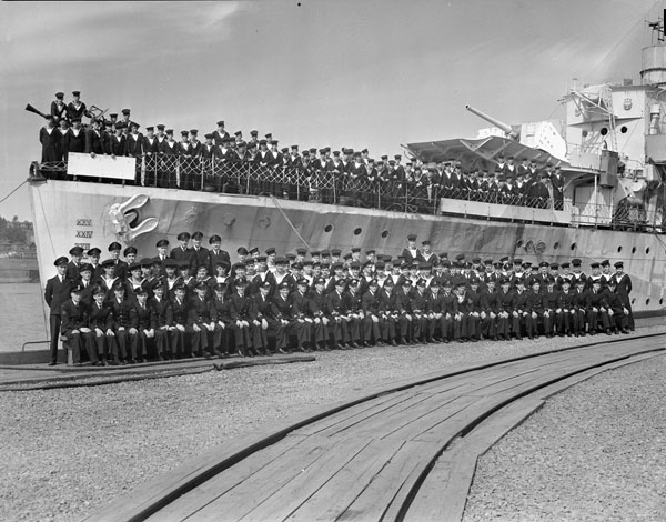 Ship's Company of the destroyer H.M.C.S. SASKATCHEWAN, Halifax, Nova Scotia, Canada, August 1944.