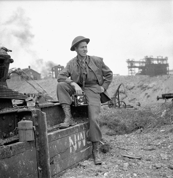 Lieutenant H. Gordon Aikman of the Canadian Army Film and Photo Unit, Colombelles, France, 19 July 1944.