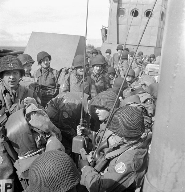 Infantrymen of the 13th Infantry Brigade Group aboard a landing craft taking part in Operation COTTAGE, the invasion of Kiska, Aleutian Islands, August 1943.