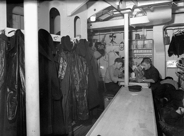 Messdeck of the frigate H.M.C.S. SWANSEA, Esquimalt, British Columbia, Canada, 1 November 1943.