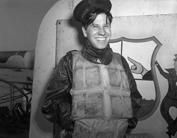 Able Seaman Enio Girardo of the corvette HMCS Edmundston, who was rescued by his shipmates after being washed overboard in a storm at sea.