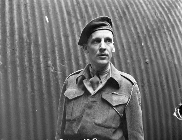 Major Rai Purdy, the head of the Canadian Army Show's production centre, Guildford, England, 21 June 1945.